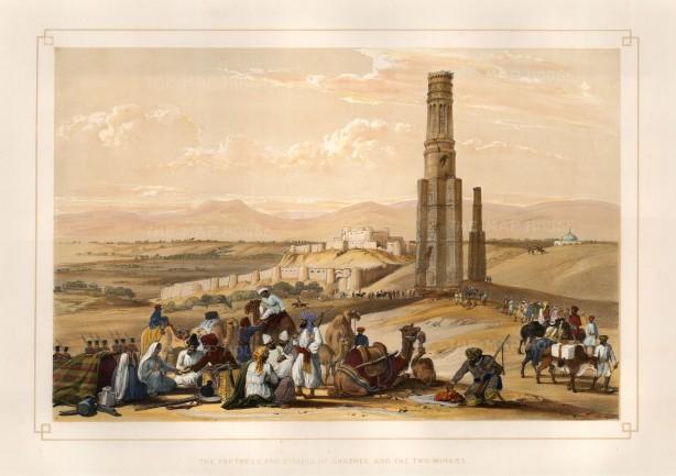 Atkinson: Ghazni. 1842. A hand-coloured original antique lithograph. 17 x 12 inches [AFGp113]