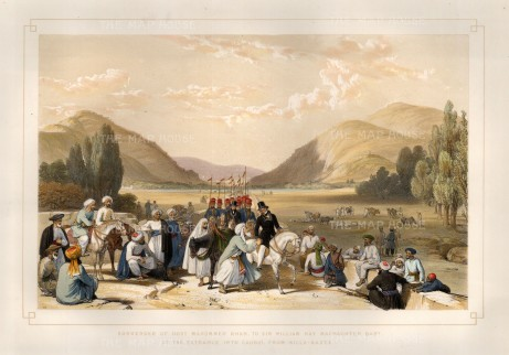 Killa-Kazze Valley on the entrance to Kabul: Surrender of Dost Mohammed Khan to Sir William MacNaghten.
