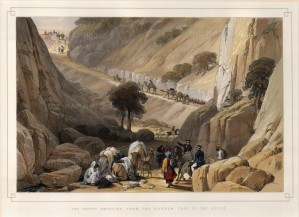 Balochistan: Koojak Pass. Troops Emerging from the narrow part of the Defile. First Anglo-Afghanistan War.