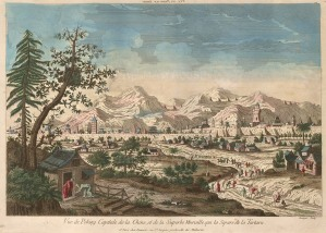 "Beauvais, 'Vue de Peking Capitale', c.1780. An original colour copper-engraving. 12"" x 16"". £POA."