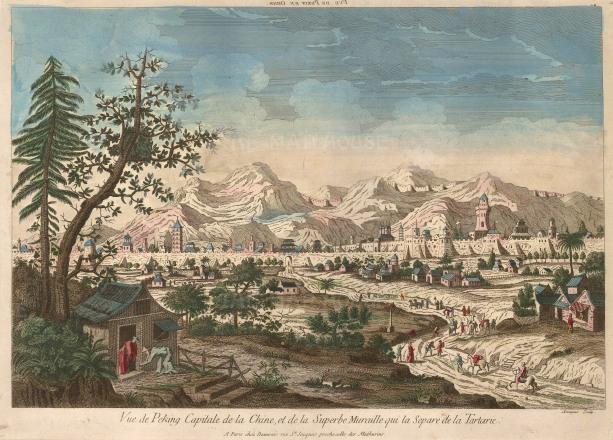 """Beauvais, 'Vue de Peking Capitale', c.1780. An original colour copper-engraving. 12"""" x 16""""."""