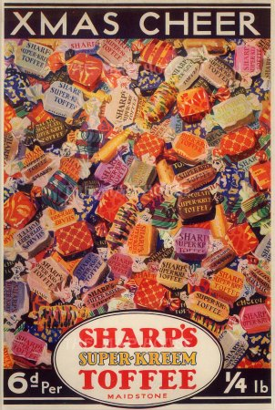 "Punch, 'Sharp's Super-Kreem Toffee, Xmas Cheer', 1931. An original chromo-lithograph. 8"" x 10""."