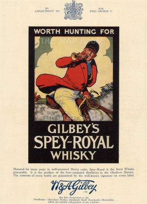 "Punch 'Gilbey's Spey-Royal Whisky: Worth Hunting For', 1926. An original chromo-lithograph. 8"" x 11""."