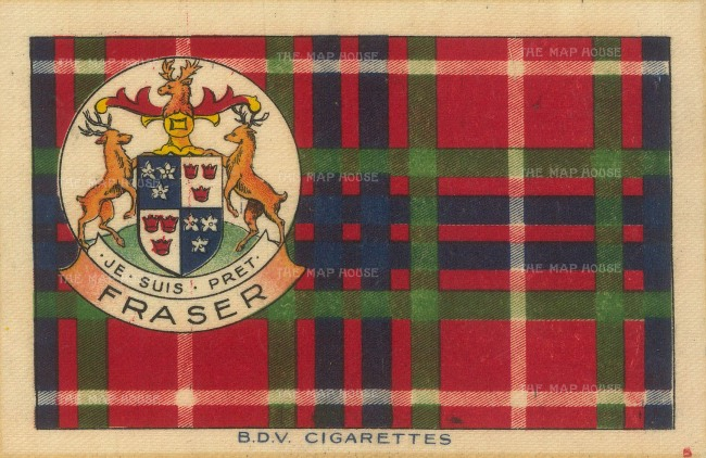 "BDV Tartans: Fraser. 1910. An original silk cigarette card. 7"" x 5"""