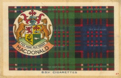 "BDV Tartans: MacDonald. 1910. An original silk cigarette card. 7"" x 5"""