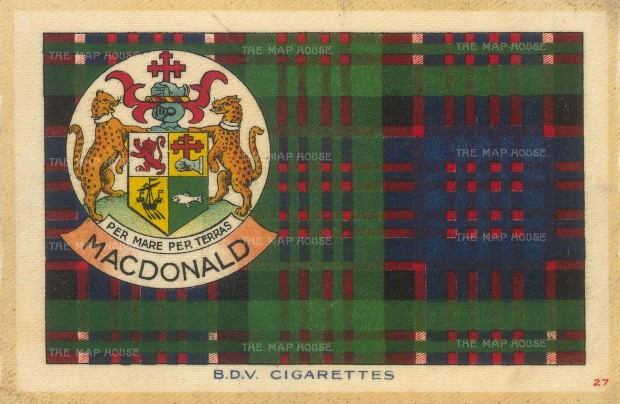 "BDV Tartans: MacDonald. 1910. An original silk cigarette card. 7"" x 5"""