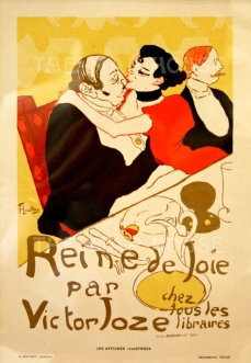 After Tolouse-Lautrec: Depicting a scene from the Viktor Jose novel with the courtesan Alice Lamy, Baron de Rozenfeld and Lord Bath in the Cafe Anglais.