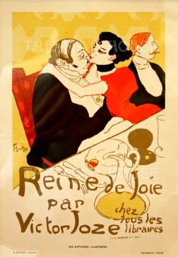 """SOLD. Cheret: Reine de Joie par Victor Joze: after Toulouse Lautrec. 1896. An original antique chromo-lithograph. 7"""" x 9"""""""