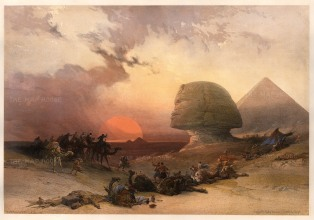 Approach of the Simoon: The Great Sphynx with the infamous, hot cyclonic wind twisting up before the darkening sun. The most dramatic scene in the series. RARE subscribers' edition.