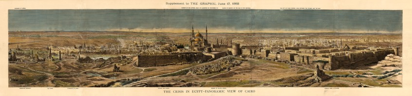 Panoramic view from the pyramids of Giza to the citadel of Cairo. The Anglo-Egyptian War of 1882 ended with a British victory that expanded the Empire's control over Egypt.
