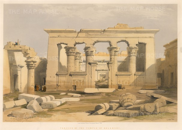 "Roberts: Bab al-Kalabsha. 1848. A hand coloured original antique lithograph. 21"" x 15"". [EGYp562]"