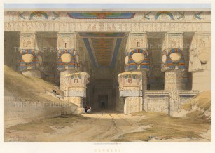 Dendera: Facade of the Temple of the goddess Hathor. To the right of the entrance is a depiction of Cleopatra.