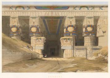"Roberts: Dendera, Temple of Hathor. 1847. A hand-coloured original antique lithograph. 21"" x 15"" [EGYp952]"