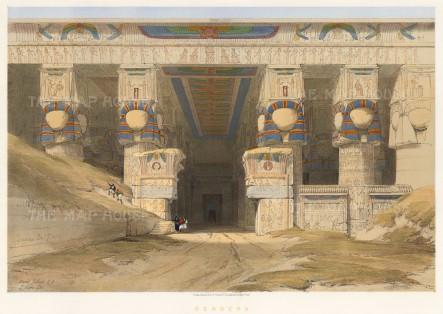 "Roberts: Dendera, Temple of Hathor. 1847. A hand coloured original antique lithograph. 21"" x 15"" [EGYp952]"
