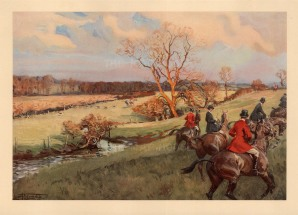 "Edwards: Hunting. 1927. An original vintage chromolithograph. 12"" x 8"". [FILEDp1444]"