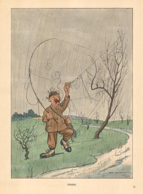 Bateman: Fishing. c1930. A hand coloured original vintage lithograph. 7″ x 10″. [FIELDp1500]