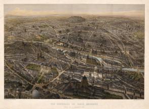 """Jacques Lemercier, 'Vue General de Paris Moderne', c.1836. An original colour lithograph. 20"""" x 27"""". SOLD."""
