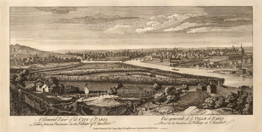 "Sayer, 'A General View of Paris. Taken from an Eminence in the Village of Chaillot. An original black and white copper-engraving. 10"" x 20"".  £POA."