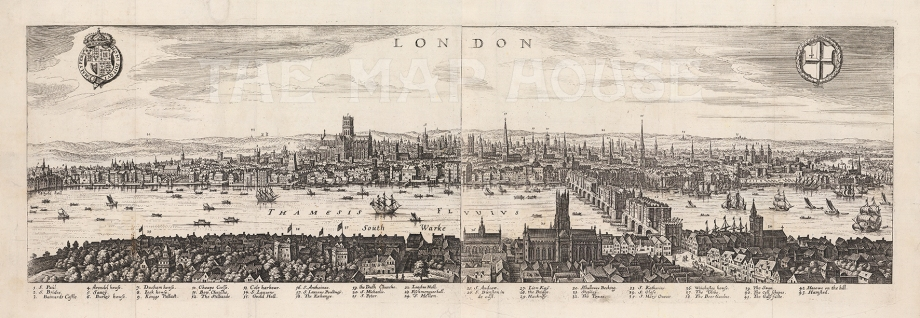 "Merian, 'London', 1641. An original copper-engraving. 28"" x 9"". £POA."