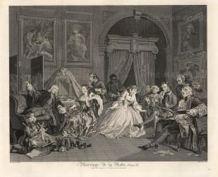 "William Hogarth,'Plate IV - The Toilette', Marriage a-la Mode, 1796. An original black & white copper engraving. 14"" x 17"". SET OF 6. £POA."