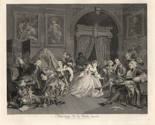 "William Hogarth,'Plate IV - The Toilette', Marriage a-la Mode, 1796. An original black & white copper engraving. 14"" x 17"". SET OF 6. £POA."