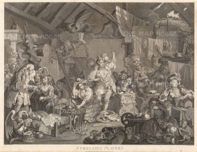 "Hogarth: Strolling Players Dressing in a Barn. c1800. An original antique copper engraving. 22"" x 17"". [MISCp2959]"
