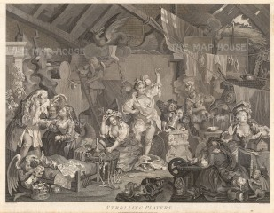 "William Hogarth, 'Strolling Players Dressing in a Barn.', c.1800. An original black & white copper engraving. 17"" x 22"". £POA."