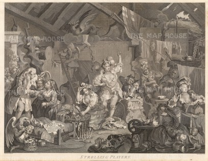 """Hogarth: Strolling Players Dressing in a Barn. c1800. An original antique copper engraving. 22"""" x 17"""". [MISCp2959]"""