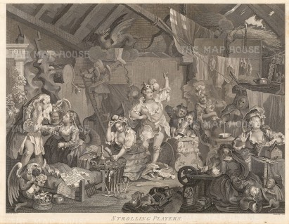 "William Hogarth, 'Strolling Players Dressing in a Barn.', c.1800. An original black & white copper engraving. 17"" x 22"". £POA."