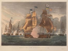"""Jenkins: Capture of La Vengeance by HMS Nereide. 1816. An original colour aquatint. 11"""" x 8""""."""