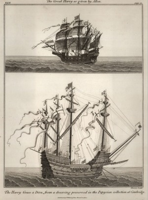 """Charnock: Great Harry as Given by Allen. The Harry Grace a Dieu. c.1802. An original copper engraving. 9"""" x 12""""."""