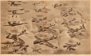 """The Flying Magazine: RAF Bombers and Fighters. c1939. An original photo-lithograph 18"""" x 11""""."""