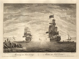 """Sayer: Ships at Morning, Noon and Night. 1774. 1 of 3. An original copper engraving. 12"""" x 17""""."""
