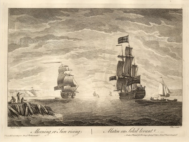 "Sayer: Ships at Morning, Noon and Night. 1774. 1 of 3. An original copper engraving. 12"" x 17""."