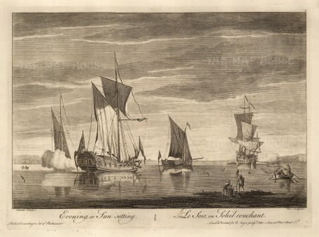 """Sayer. Ships at Morning, Noon and Night. 1774. 2 of 3. An original copper engraving. 12"""" x 17""""."""