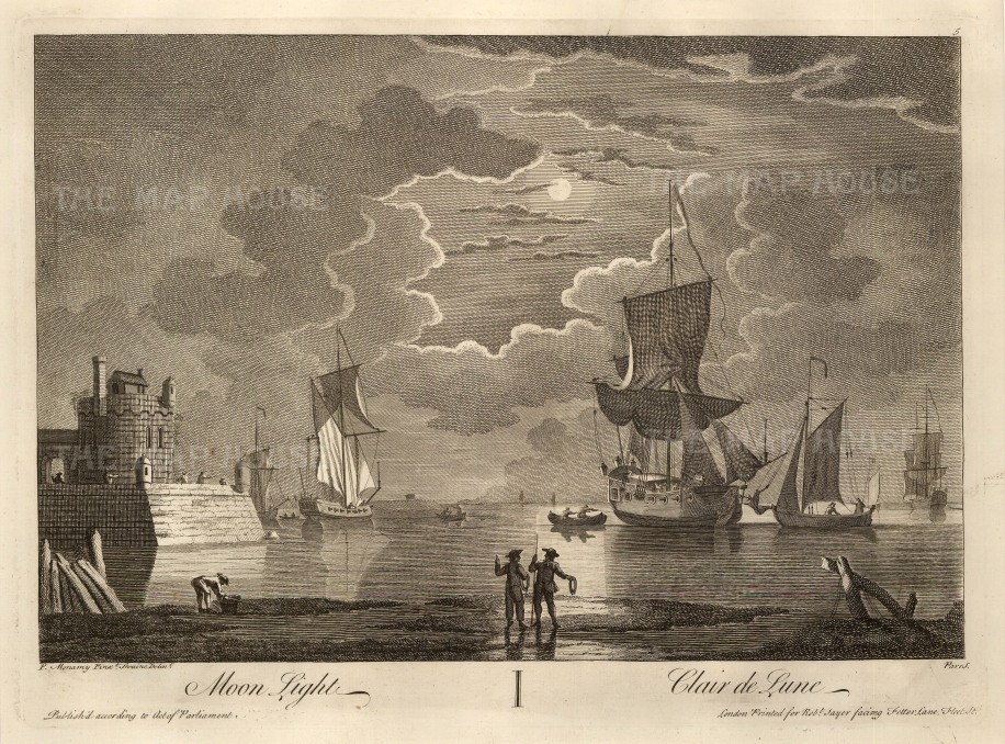 """Sayer: Ships at Morning, Noon and Night. 1774. 3 of 3. An original copper engraving. 12"""" x 17"""".."""