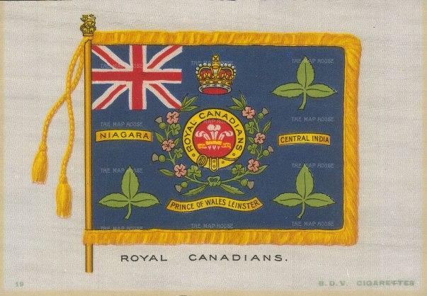 "BDV Cigarettes: Royal Canadians. c1920. An original printed silk card. 6"" x 4""."