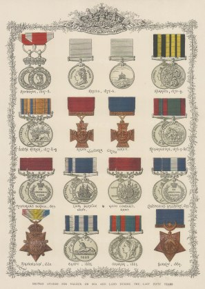 "Illustrated London News: Military and Naval Medals: awarded between 1867-1884. 1887. An orgiinal chromo-lithograph. 12"" x 15""."