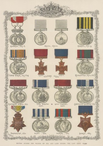 """Illustrated London News: Military and Naval Medals: awarded between 1867-1884. 1887. An orgiinal chromo-lithograph. 12"""" x 15""""."""