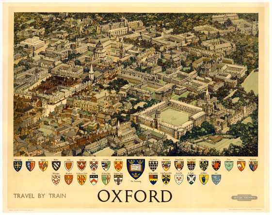 "British Railways: Oxford. 1651. An original vintage chromo-lithograph. 50"" x 40"". [POSTERp105]"