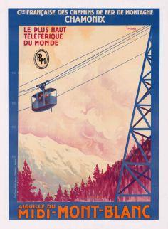 """Dormoy: Cie Francaise des Chemins de Fer de Montagne Chamonix - Aiguille du Midi-Mont-Blanc. c.1930. An original vintage chromolithograph. 29"""" x 41"""". [POSTERp146]"""