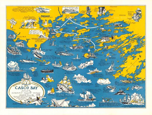 """Snow: Historical & Pictorial Map of Casco Bay, Maine. c.1960. An original vintage chromo-lithograph. 21"""" x 18"""". [POSTERp153]"""