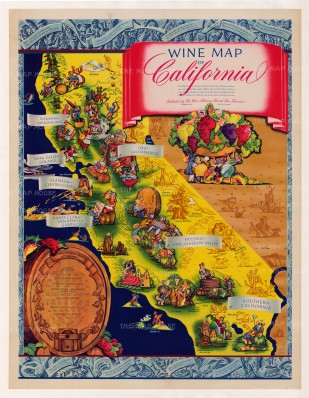 """Taylor: Wine map of California. c.1960. An original vintage chromolithograph. 32"""" x 42"""". [POSTERp156]"""