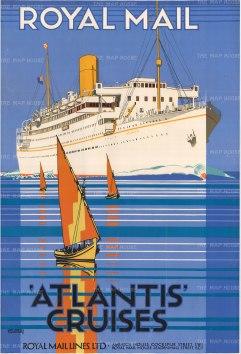 "Shoesmith: Royal Mail Atlantis Cruises. c.1935. An original vintage chromolithograph. 24"" x 38"". [POSTERp163]"