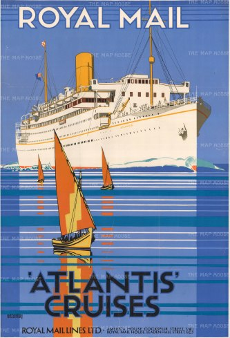 Royal Mail Promotional poster for the Atlantis (the redeployed Andes after its service in WWI). Shoesmith was a naval cadet, later working on the Royal Mail line before becoming a successful marine artist.
