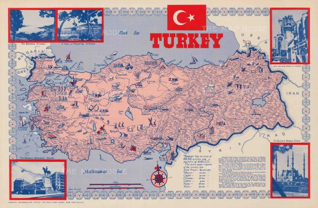 "Dunny: Turkey. c.1950. An original vintage chromo-lithograph. 34"" x 22"". [POSTERp165]"