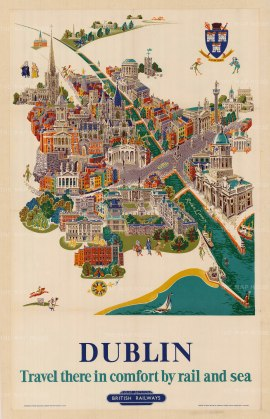 "British Railways: Dublin. c.1950. An original vintage chromolithograph. 25"" x 40"". [POSTERp166]"