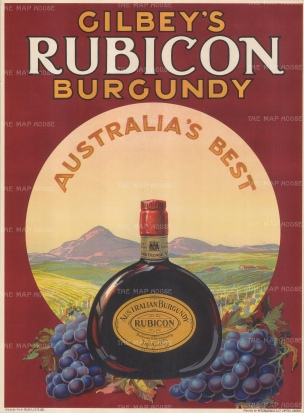 "McCorquodale: Gilbey's Rubicon Burgundy. c.1930. An original vintage chromolithograph. 15"" x 20"". [POSTERp170]"