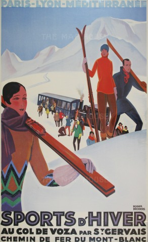 "Broders: Sports d'Hiver. 1930. An original vintage chromolithograph. 24"" x 39"". [POSTERP189]"