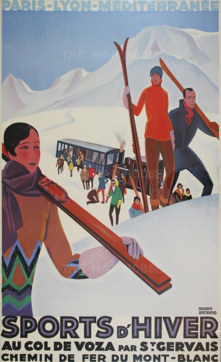 """Broders: Sports d'Hiver. 1930. An original vintage chromolithograph. 24"""" x 39"""". [POSTERP189]"""